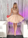 2021 A-Line/Princess High Neck Cap Sleeve Sequin Beading Pleated Cut Short/Mini Homecoming Dresses