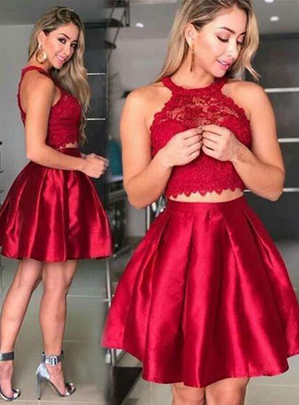 2020 A-Line/Princess Halter Sleeveless Lace Pleated Satin Cut Short/Mini Homecoming Dresses