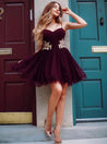 2021 A-Line/Princess Sweetheart Spaghetti Straps Applique Organza Cut Short/Mini Homecoming Dresses