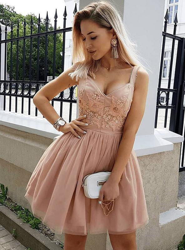 Dusty Rose Cut Shorts Tulle V Neck Sleeveless Beading Applique High Quality Homecoming Dresses