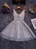 Tulle Sash/Ribbon/Belt Applique Beading V Neck Lace Up Sleeveless Homecoming Dresses