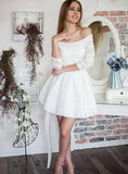Ball Gown White 3/4 Sleeve Off-The-Shoulder Lace Cut Short/Mini Homecoming Dresses