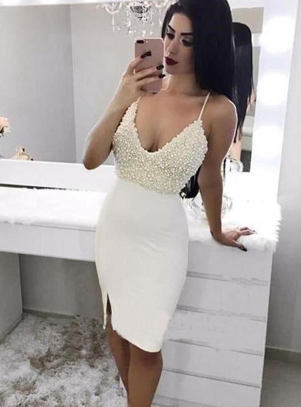 White Sheath/Column Pearls Split-Front Sleeveless V Neck Spaghetti Straps Knee-Length Homecoming Dresses