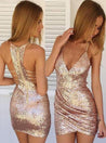 Sequin Sheath/Column Sleeveless V Neck Zipper Up Cut Short Mini Homecoming Dresses