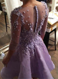 Lilac Botton Applique Beading 3/4 Sleeve Homecoming Dresses