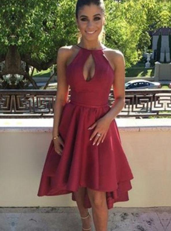 High Low Pleated Halter Sleeveless Cut Out Short Backless Homecoming Dresses