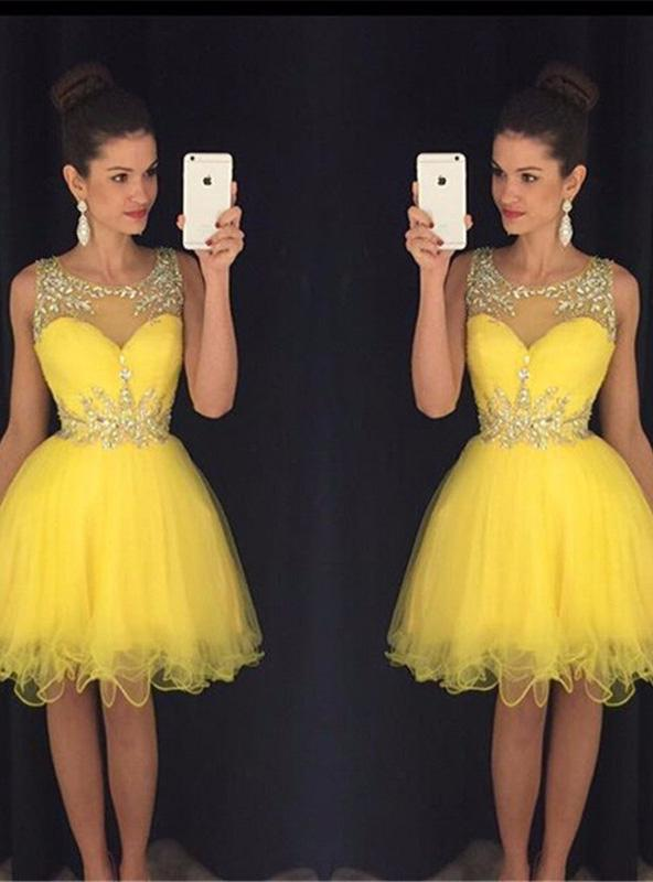 Organza Scoop Neck See Through Sleeveless Beading Ball Gown Knee-Length Homecoming Dresses