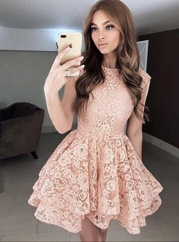 Lace Layers A-Line/Princess Cut Short Mini Jewel Neck Sleeveless Homecoming Dresses