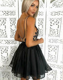 Straps Sweetheart Black Appliques Ball Gown Organza Short Sexy Backless Homecoming Dresses