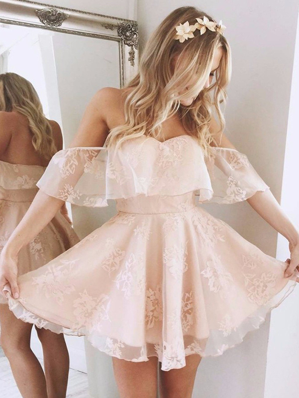 Off The Shoulder Dusty Rose Lace A Line Pleated Short Backless Sweetheart Homecoming Dresses