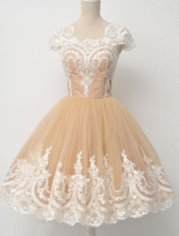 Lace Square Neck Champagne Cap Sleeve A Line Tulle Pleated Appliques Homecoming Dresses