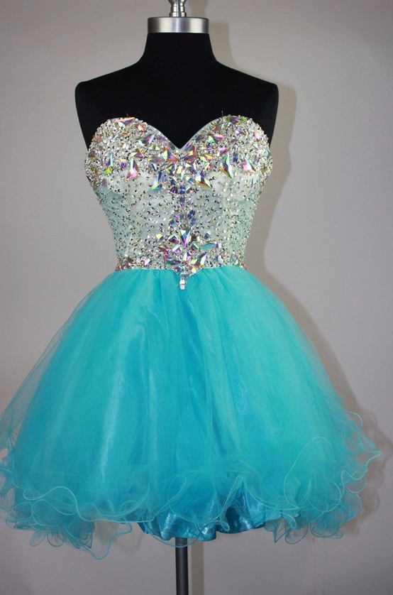 Rhinestone Strapless Sweetheart Backless A Line Tulle Pleated Homecoming Dresses