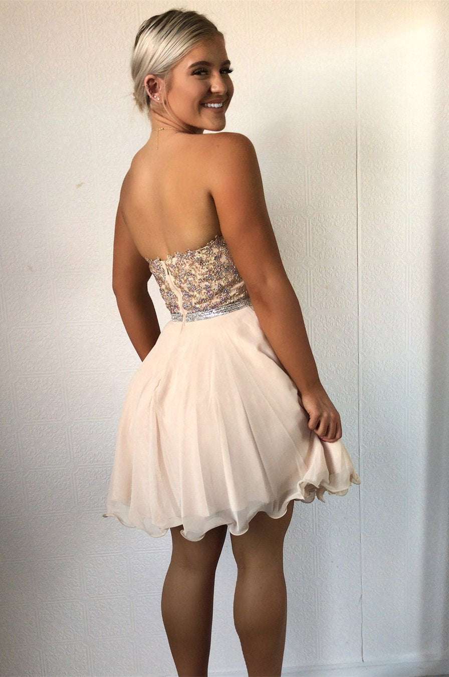 Strapless Sweetheart Rhinestone Beaded A Line Pleated Backless Chiffon Homecoming  Dresses