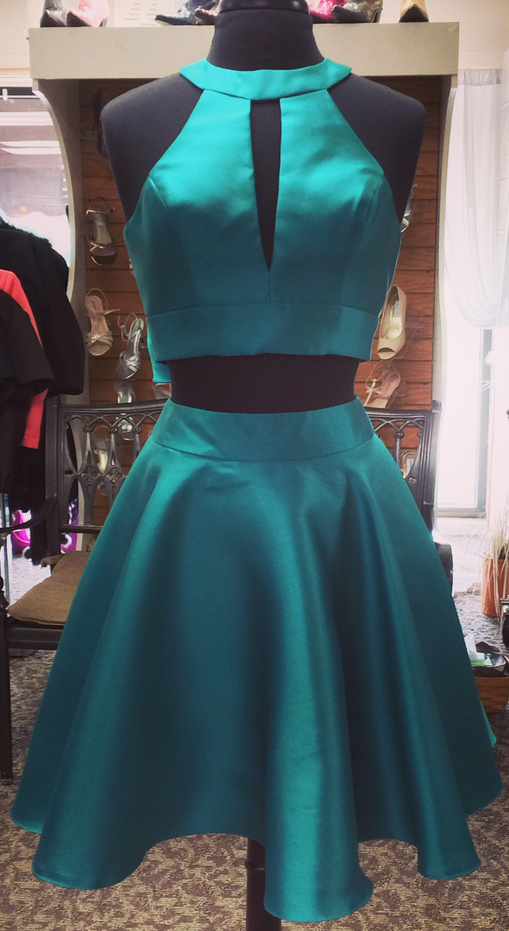 Halter Sleeveless Two Pieces Cut Out Bow Knot A Line Satin Teal Pleated Homecoming Dresses
