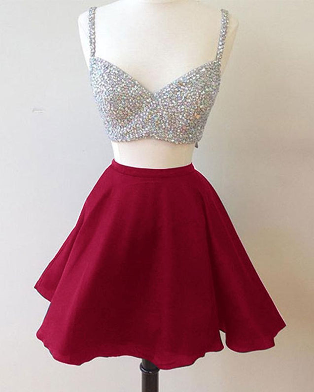 V Neck Two Pieces Sleeveless Rhinestone Sparkle A Line Pleated Chiffon Homecoming Dresses