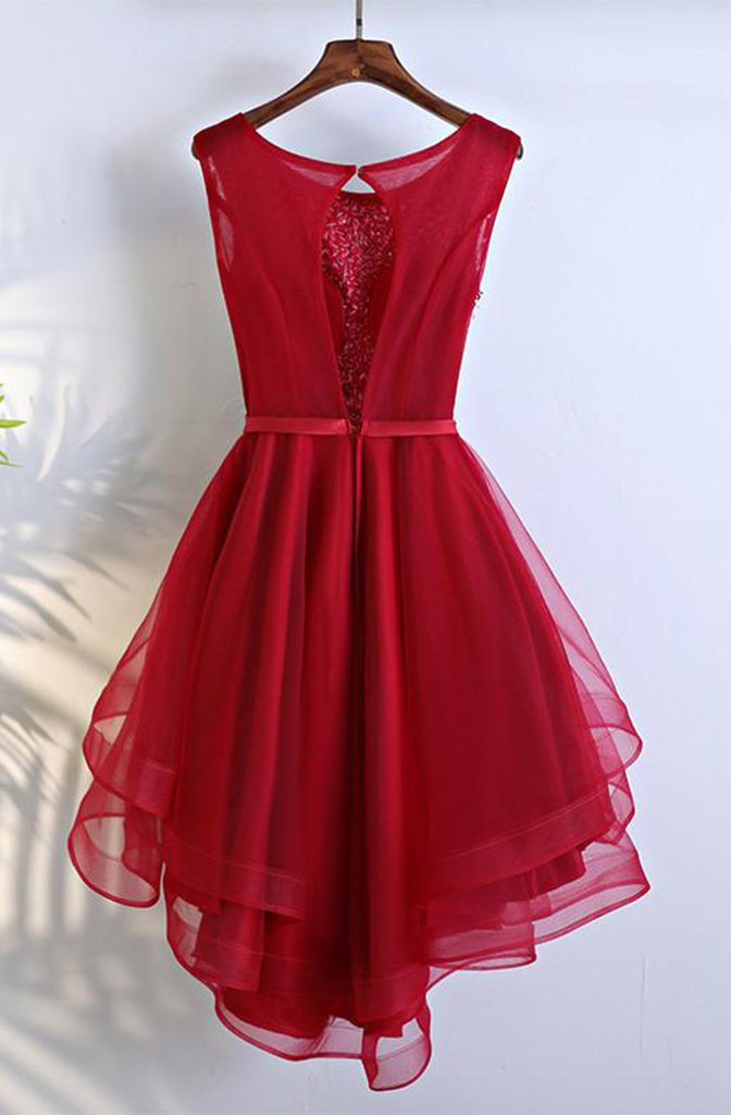 Scoop A Line red Organza High Low Bowknot Organza Rhinestone Sleeveless Homecoming Dresses