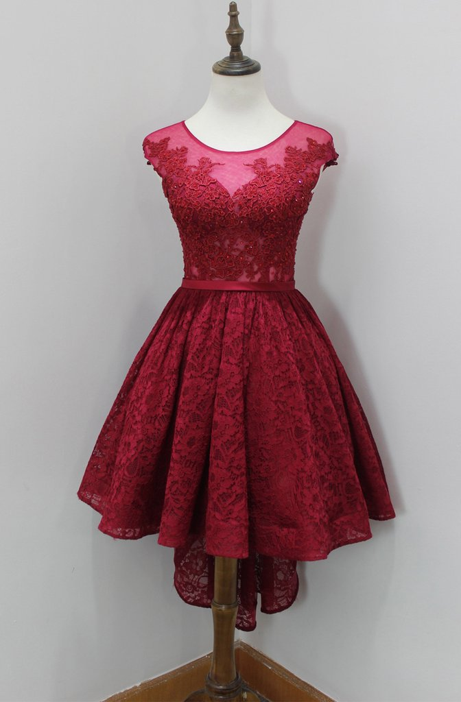 Cap Sleeve A Line Scoop Sheer Lace Pleated Burgundy High Low Flowers Homecoming Dresses