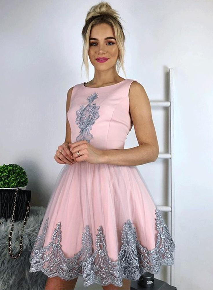 Scoop Sleeveless A Line Appliques Tulle Pink Flowers Elegant Short Homecoming Dresses