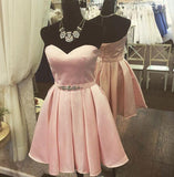 Satin Strapless Sweetheart Backless Pink Pleated A Line Rhinestone Lace Up Homecoming Dresses