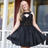 Jewel Sleeveless Cut out Black Satin A Line Appliques Pleated Short Homecoming Dresses