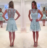 Sleeveless Light Blue Jewel A Line Sheer Lace Pearls Bowknot Homecoming Dresses