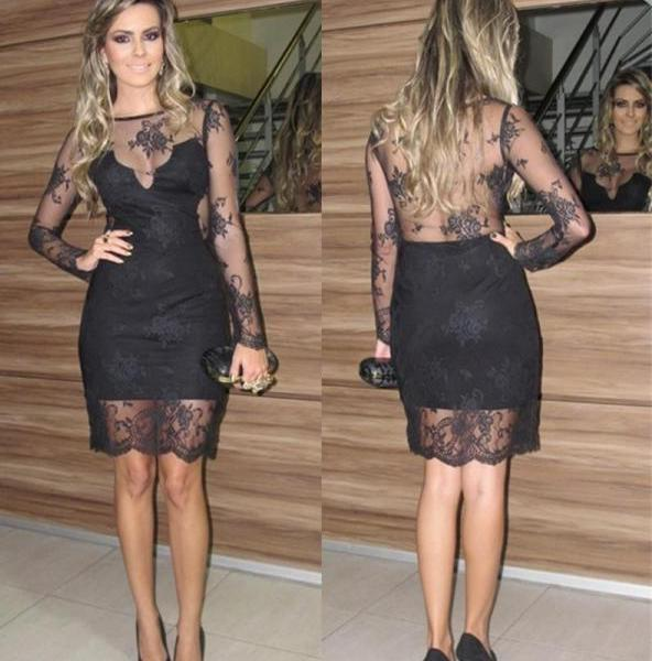 Lace Sexy Black Long Sleeve Sheath Sheer Back Flowers See Through Homecoming Dresses