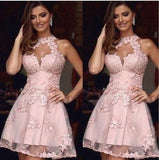 Halter Pink Sleeveless A Line Cut Out Appliques Lace Flowers Pleated Homecoming Dresses