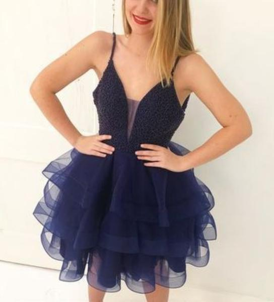 Spaghetti Straps Ball Gown V Neck Sheer Organza Tiered Sheer Dark Navy Homecoming Dresses