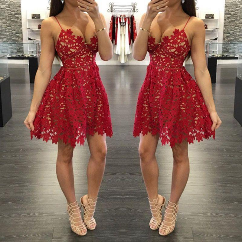 Deep V Neck Hollow Lace Spaghetti Straps Red A Line Sexy Pleated Homecoming Dresses