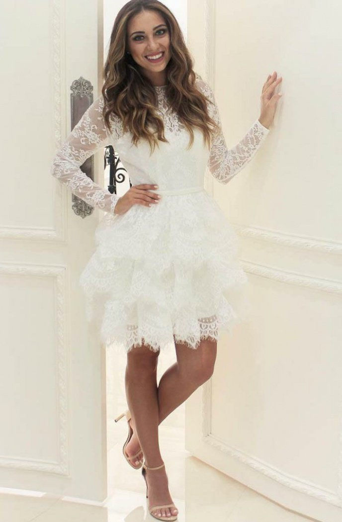 Long Sleeve Lace Jewel Flowers Pleated Sheer A Line Above Knee Homecoming Dresses