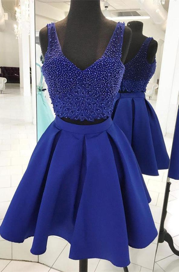 V Neck Sleeveless Royal Blue Two Pieces Beading Satin Backless A Line Homecoming Dresses