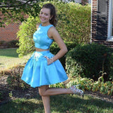 Two Pieces Jewel Sleeveless Blue A Line Pockets Pleated Satin Short Homecoming Dresses