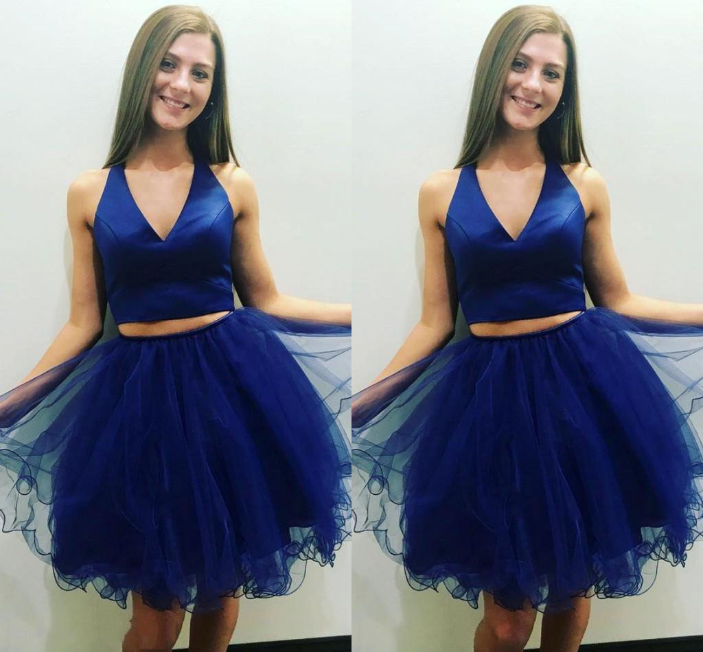 V Neck Sleeveless Two Pieces Pleated Organza A Line Royal Blue Homecoming Dresses