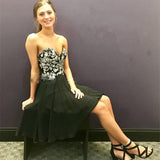 Black Embroidery Satin Strapless Sweetheart Pleated Backless A Line Homecoming Dresses