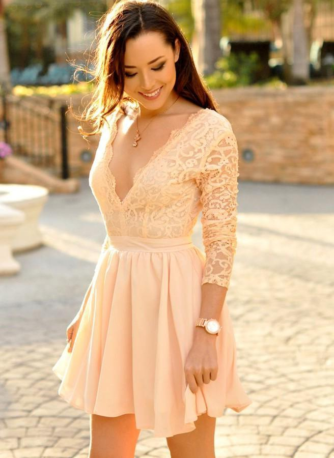 Long Sleeve Deep V Neck A Line Chiffon Pleated Lace Ivory Homecoming Dresses