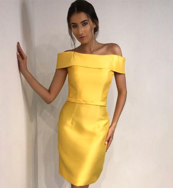 Sheath Off The Shoulder Satin Daffodil Simple Elegant Sexy Homecoming Dresses