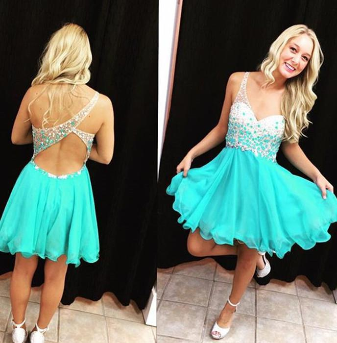 A Line Straps V Neck Sleeveless Blue Backless Beading Cut Out Chiffon Homecoming Dresses