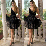 Black Lace Off Shoulder V Neck A Line Flowers Elegant Sexy Homecoming Dresses