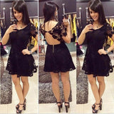 Lace Backless Scoop Black Short Sleeve A Line Sexy Flowers Pleated Homecoming Dresses