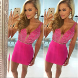 Deep V Neck Sleeveless Rhinestone Sheath Satin Fuchsia Short Sparkle Homecoming Dresses