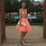 Two Pieces Scoop A Line Organza Coral Cap Sleeve Rhinestone Homecoming Dresses