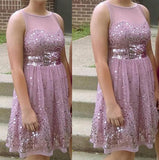 Jewel Sleeveless Pink A Line Sheer Sequins Pleated Homecoming Dresses