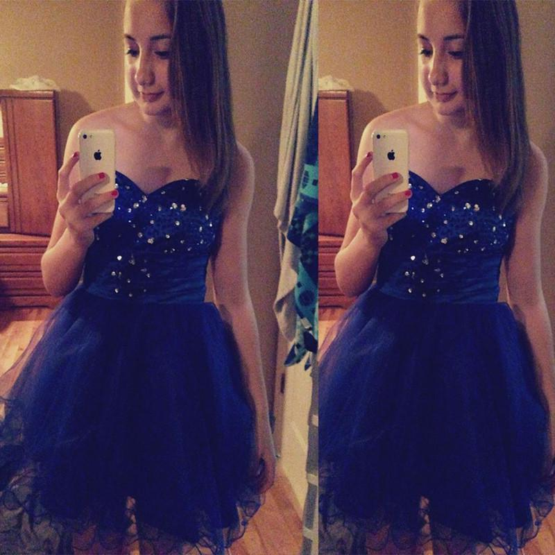 Sweetheart Strapless Rhinestone A Line Pleated Organza Royal Blue Homecoming Dresses