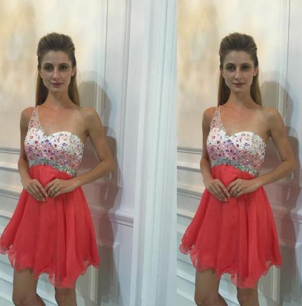 One Shoulder Straps Sleeveless Sweetheart Organza Coral Pleated Homecoming Dresses