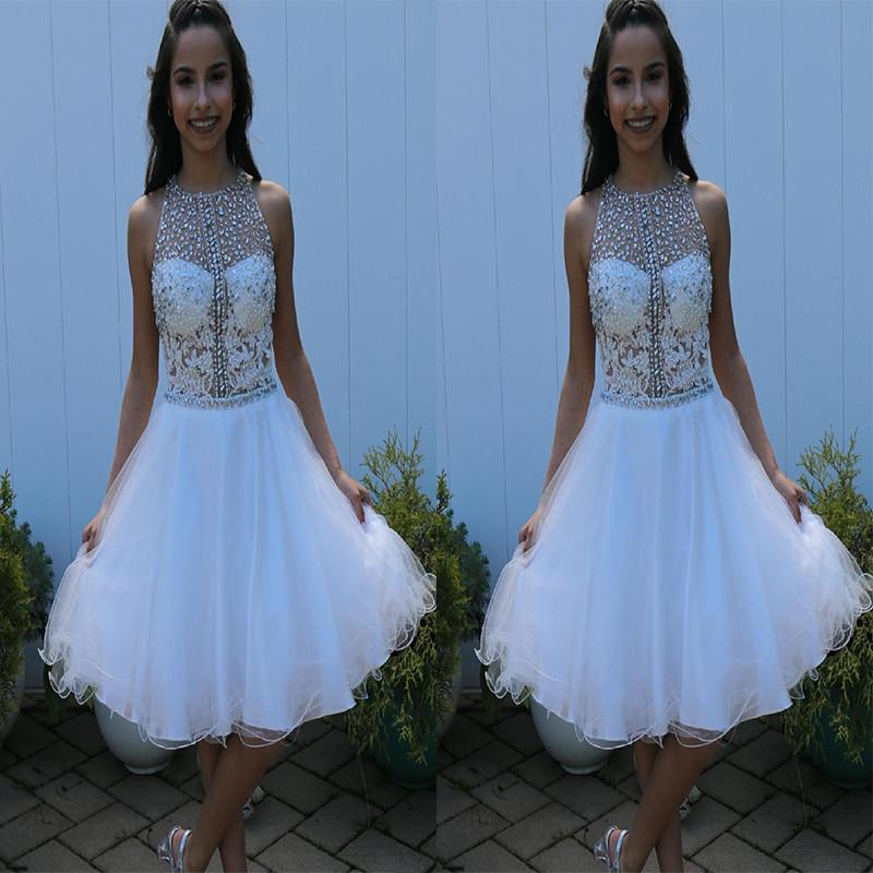 Organza Jewel Sleeveless Pleated Rhinestone Appliques Flowers Homecoming Dresses