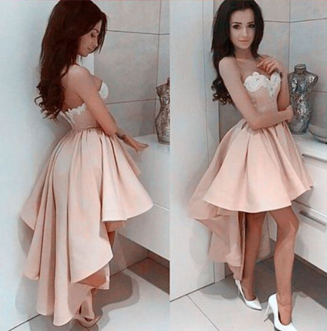 Appliques Pink A Line Strapless Sweetheart Satin Backless High Low Pleated Homecoming Dresses