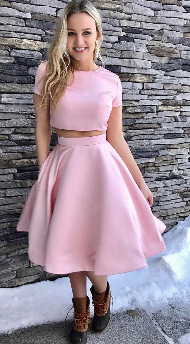Short Sleeve Jewel Two Pieces A Line Satin Pink Pleated Homecoming Dresses