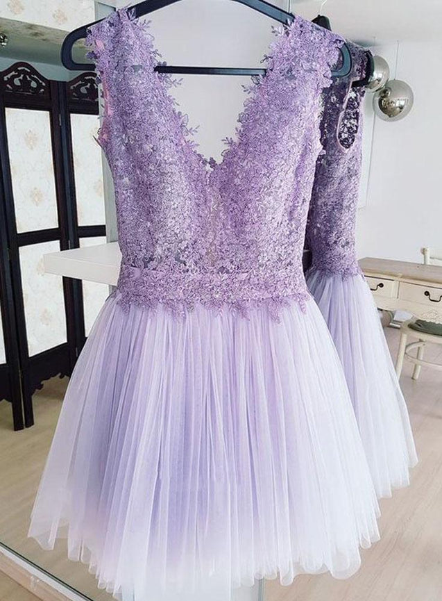 Deep V Neck Lavender Tulle Pleated Lace Sleeveless A Line Backless Homecoming Dresses