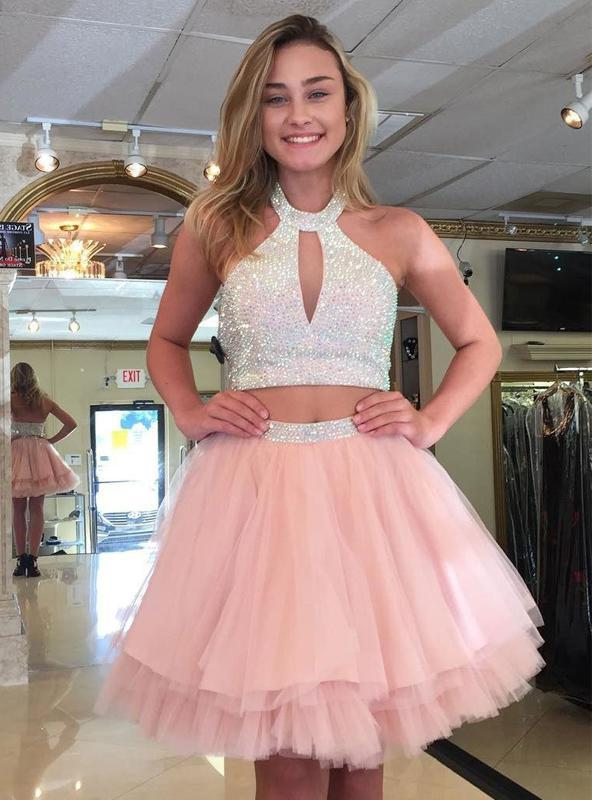 Halter Sleeveless Cut Out A Line Pleated Tulle Pink Two Pieces Beading Homecoming Dresses