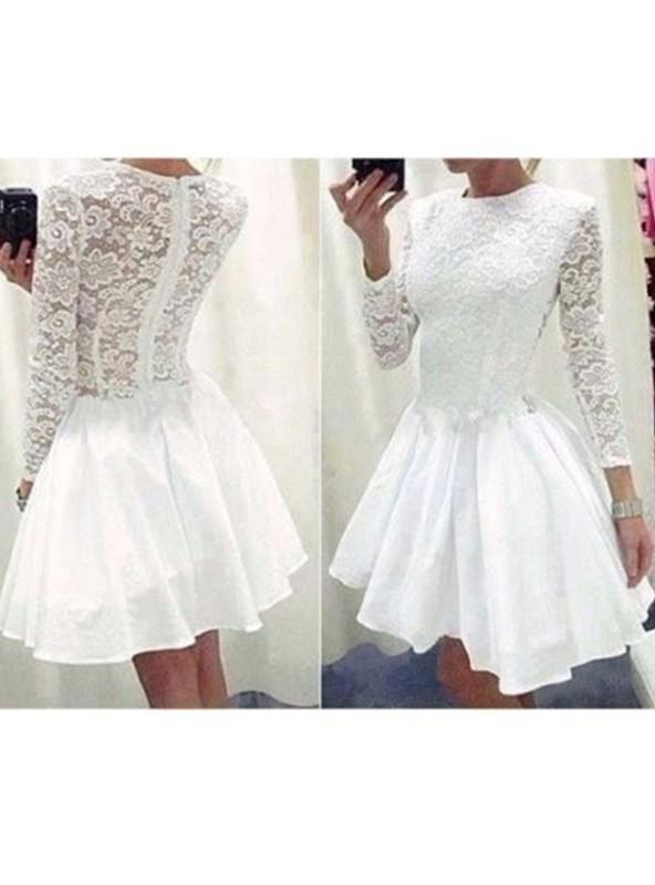 Long Sleeve Jewel A Line White Pleated Lace Appliques Satin Homecoming Dresses